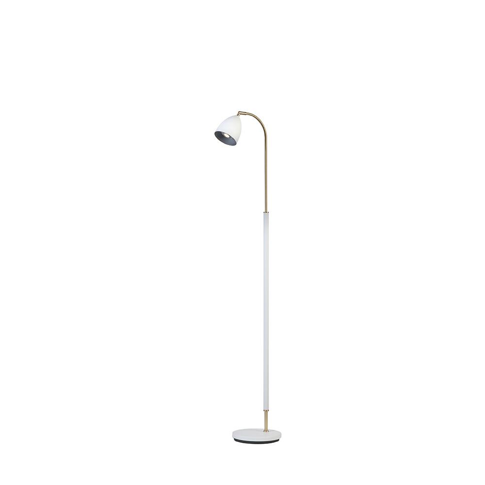 Deluxe Gulvlampe Hvid/Messing LED – Belid