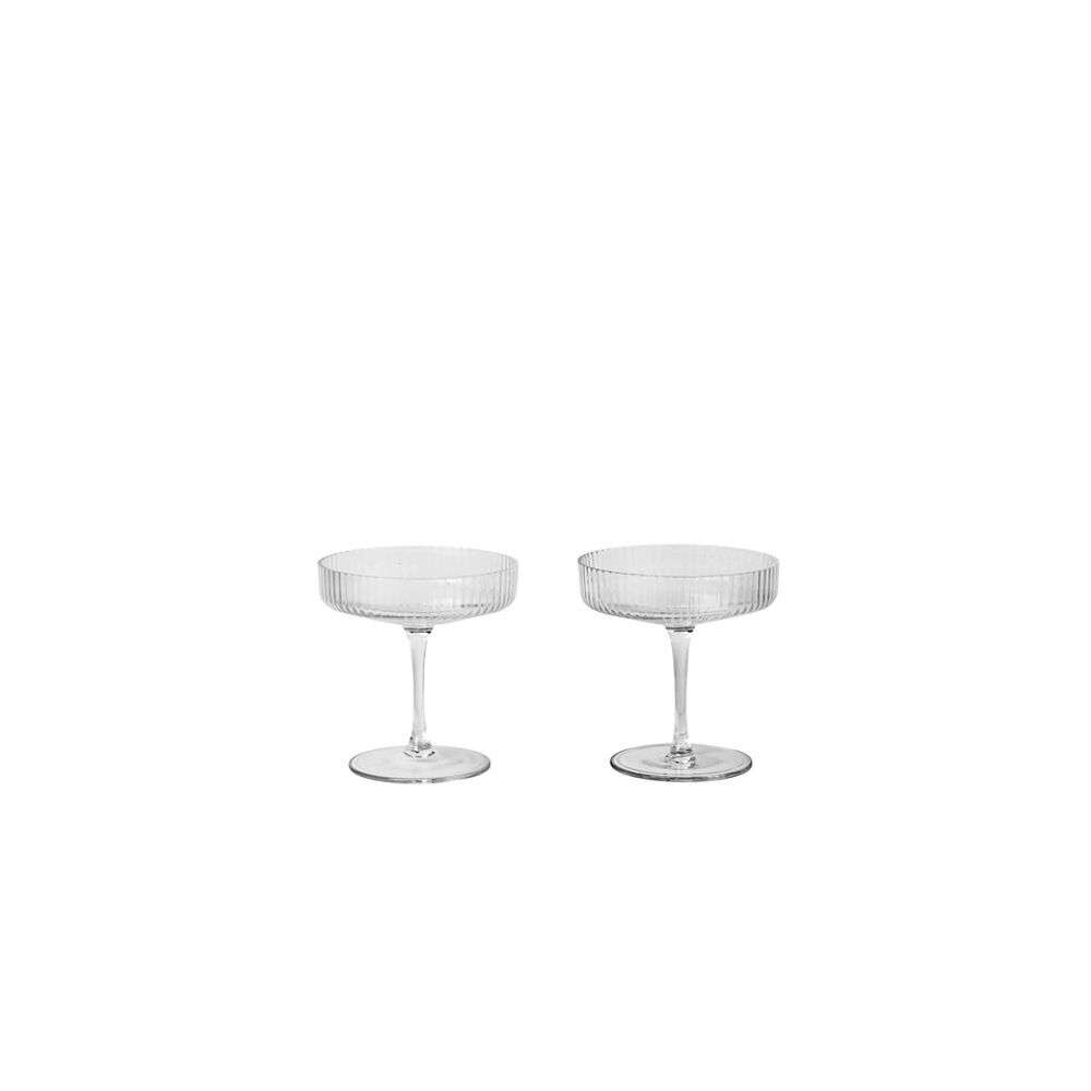Image of Ripple Champagne Saucer Set of 2 Clear - Ferm Living (16161559)
