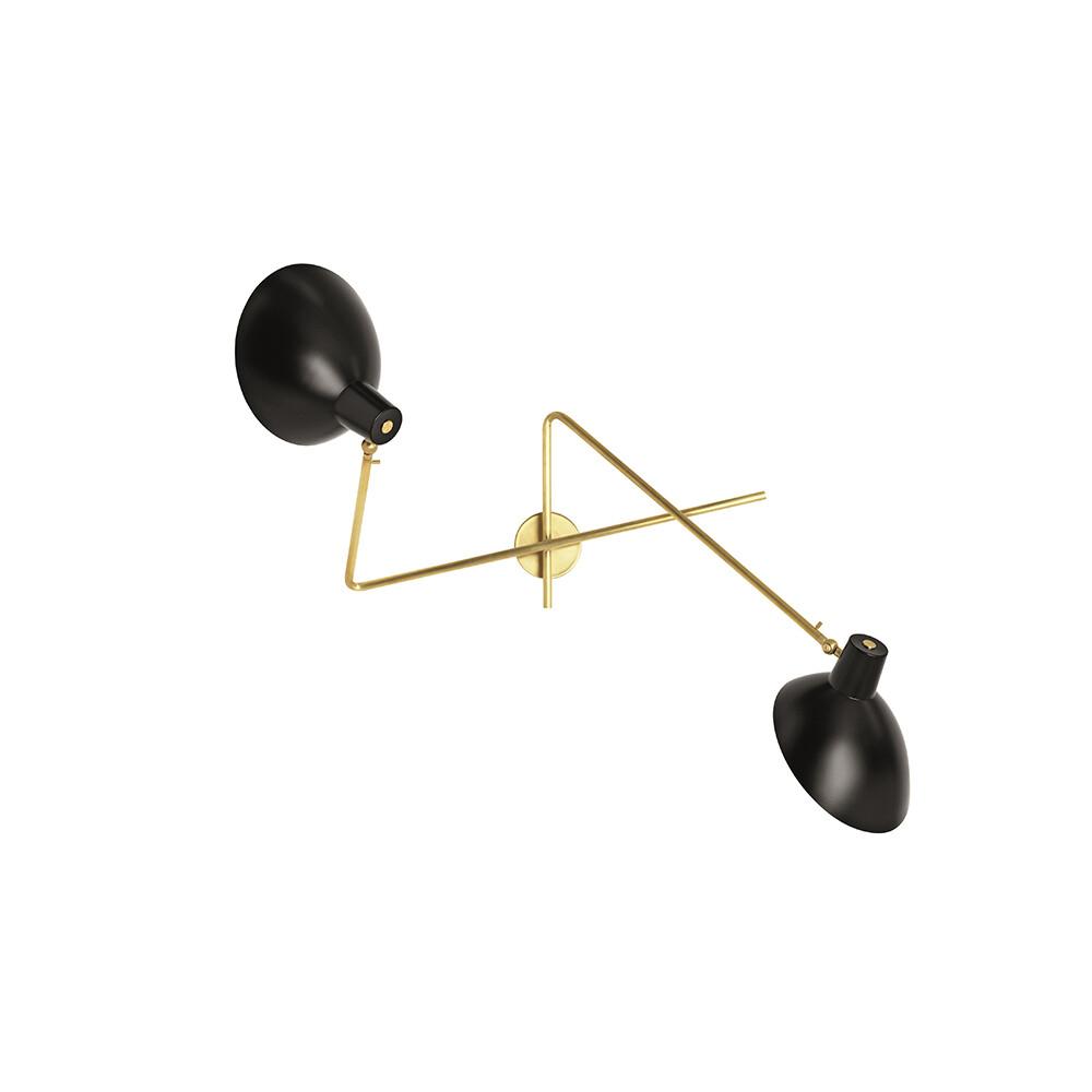Image of VV Cinquanta Twin Væglampe Brass/Black - Astep (13828757)