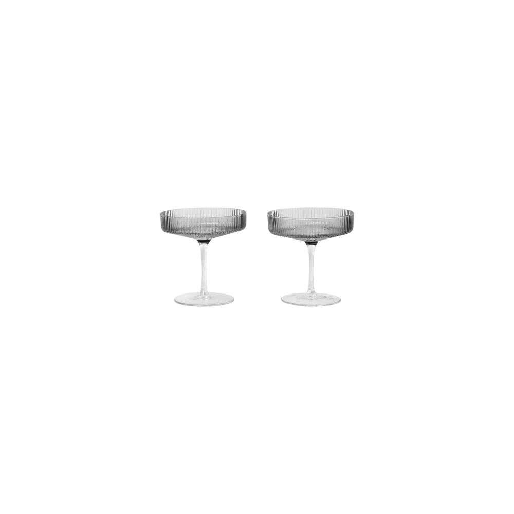 Image of Ripple Champagne Saucers Set of 2 Smoked Grey - Ferm Living (16161560)