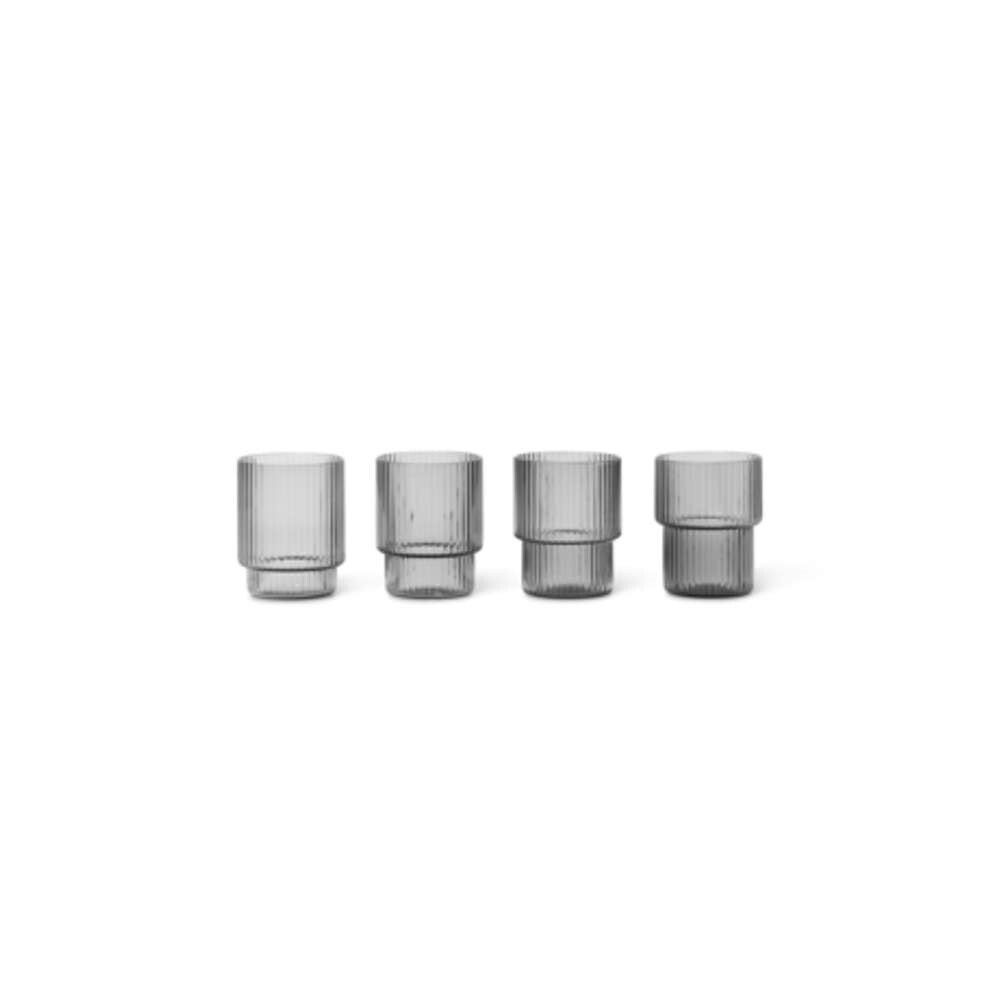 Image of Ripple Glasses Set of 4 Smoked Grey - Ferm Living (16161522)