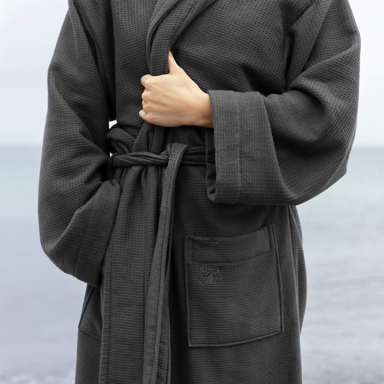Grey Bathrobe With Towelling Lining And A Charming Waffle Weave Design