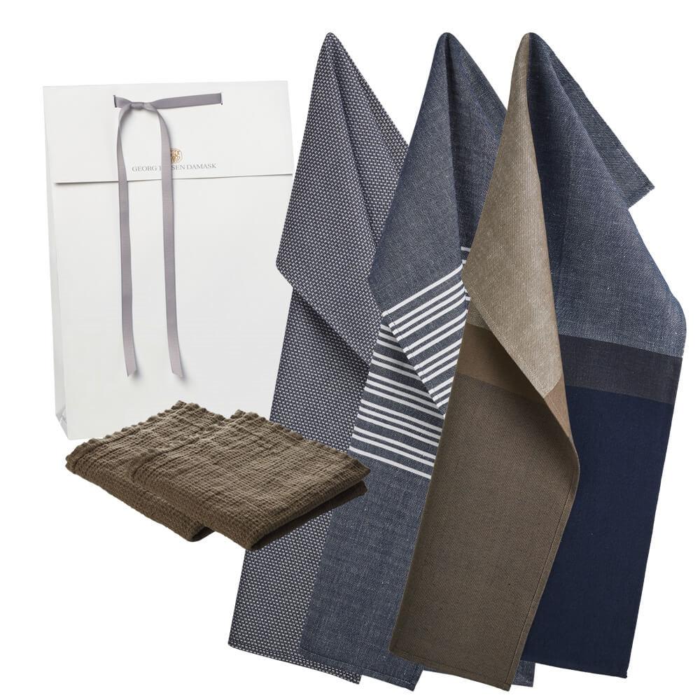 Image of   1 stk. køkkenhåndklæde, 1 stk. viskestykke, 1 stk. viskestykke og 2 karklude