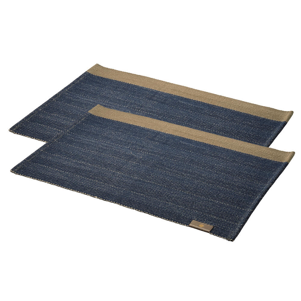 Image of 2 stk. HERRINGBONE dækkeservietter Deep Blue