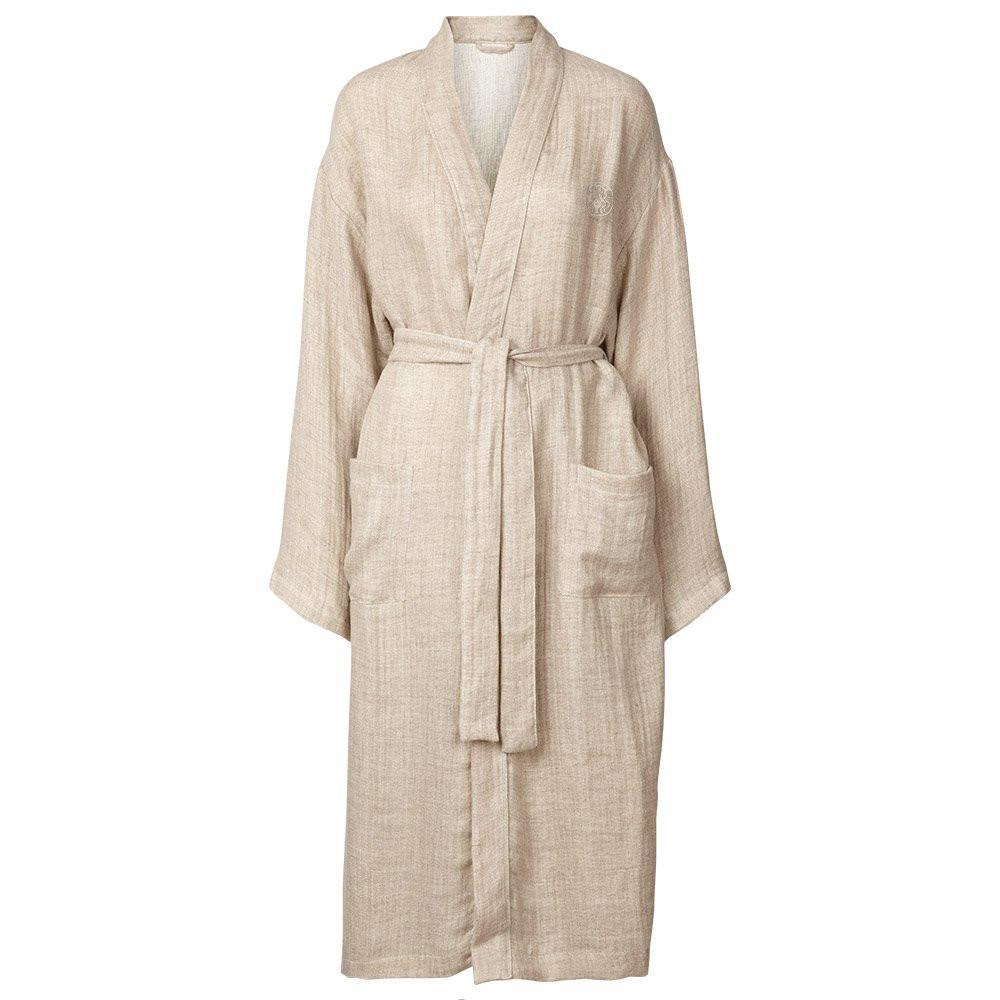 LINEN kimono Sand/Off-White (SMALL/MEDIUM, Sand-Off)
