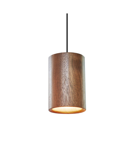 Solid Taklampe Cylinder Walnut - Terence Woodgate