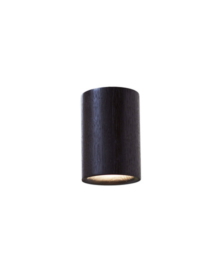 Solid Downlight Cylinder Black Stained Oak - Terence Woodgate