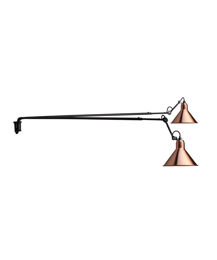 213 L Dubbel Vägglampa Svart/Koppar - Lampe Gras
