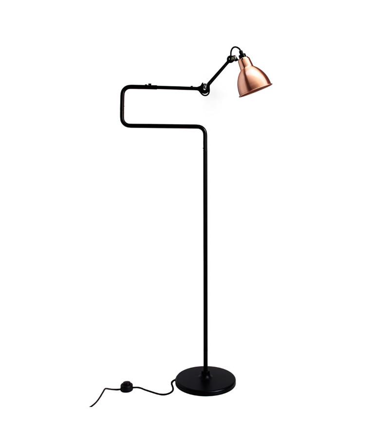 411 Gulvlampa Svart/Koppar/Vit - Lampe Gras