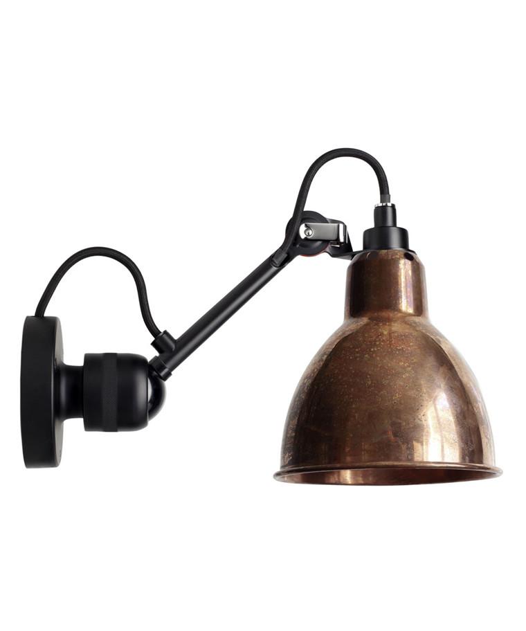 304 Væglampe Sort/Raw Kobber - Lampe Gras