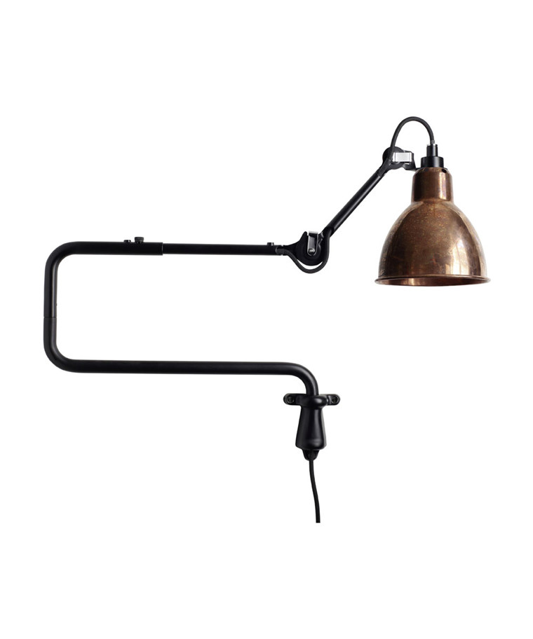 303 Vägglampa Svart/Raw Koppar - Lampe Gras