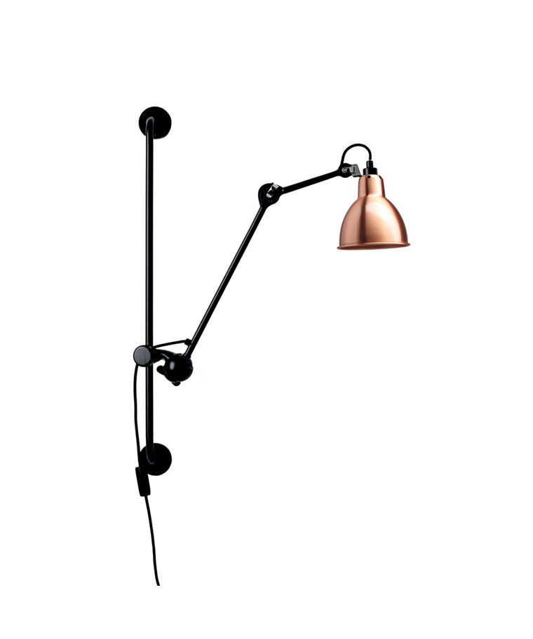 210 Vägglampa Svart/Koppar/Vit - Lampe Gras