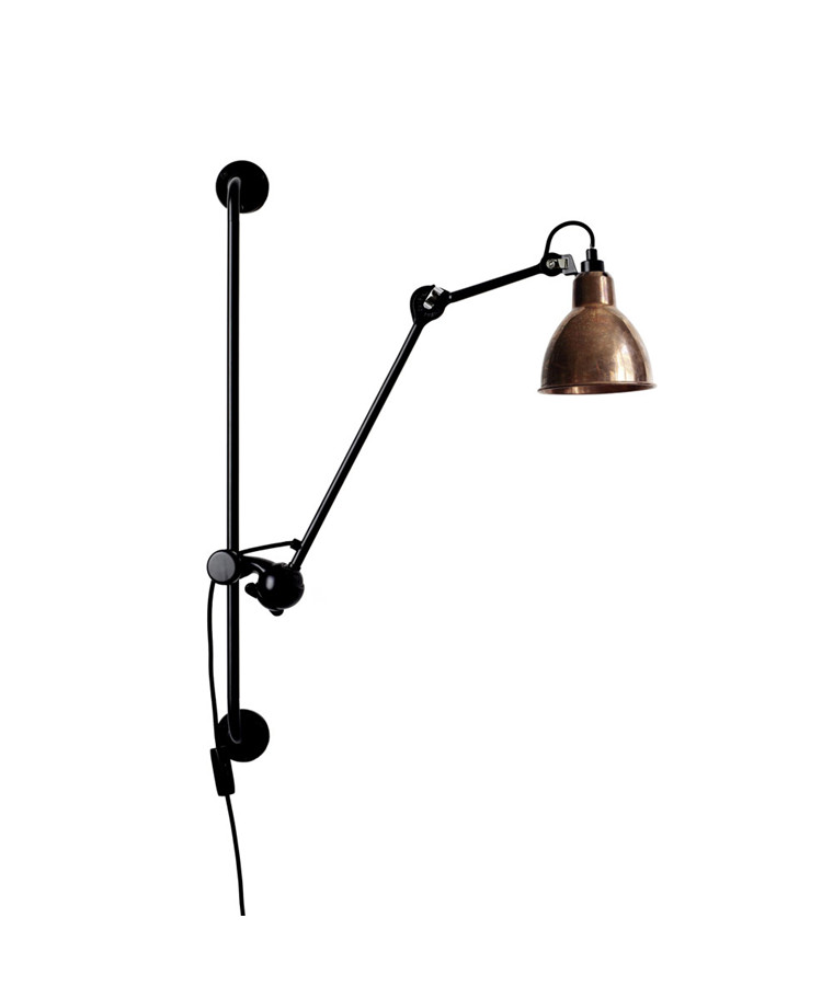 210 Vägglampa Svart/Raw Koppar/Vit - Lampe Gras