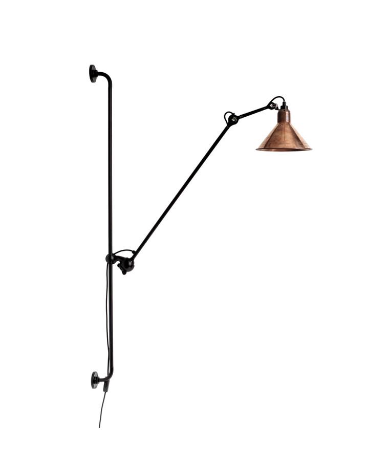 214 Vägglampa Round Svart/Raw Koppar - Lampe Gras