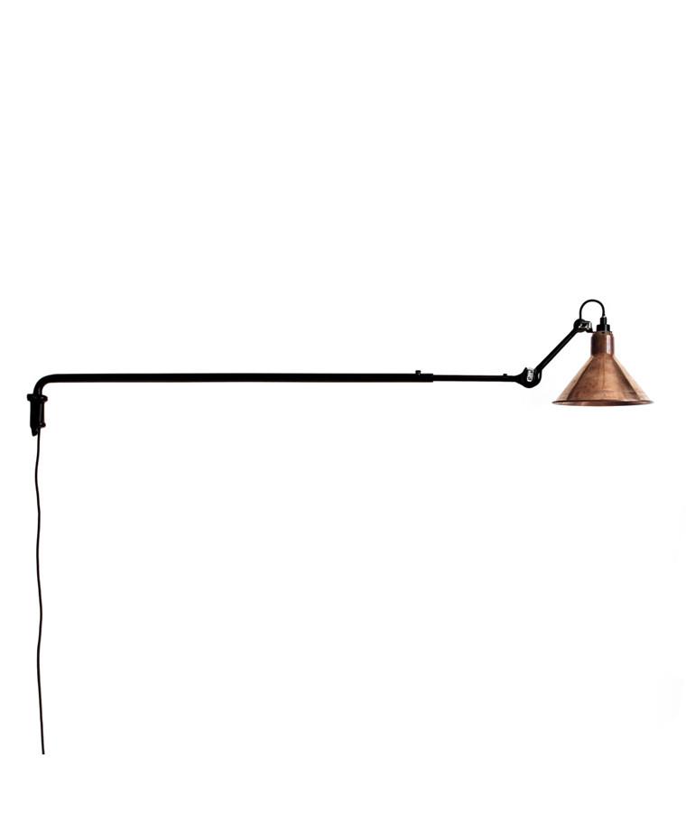 213 Vegglampe Svart/Raw Kobber - Lampe Gras