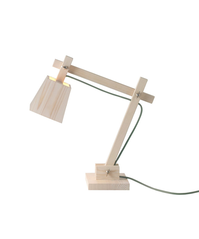 Wood Bordslampa Pine w. Dusty Green Cord - Muuto