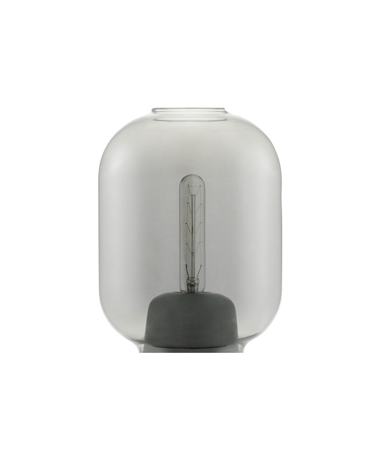 Amp Glas t/Bordslampa Rök- Normann