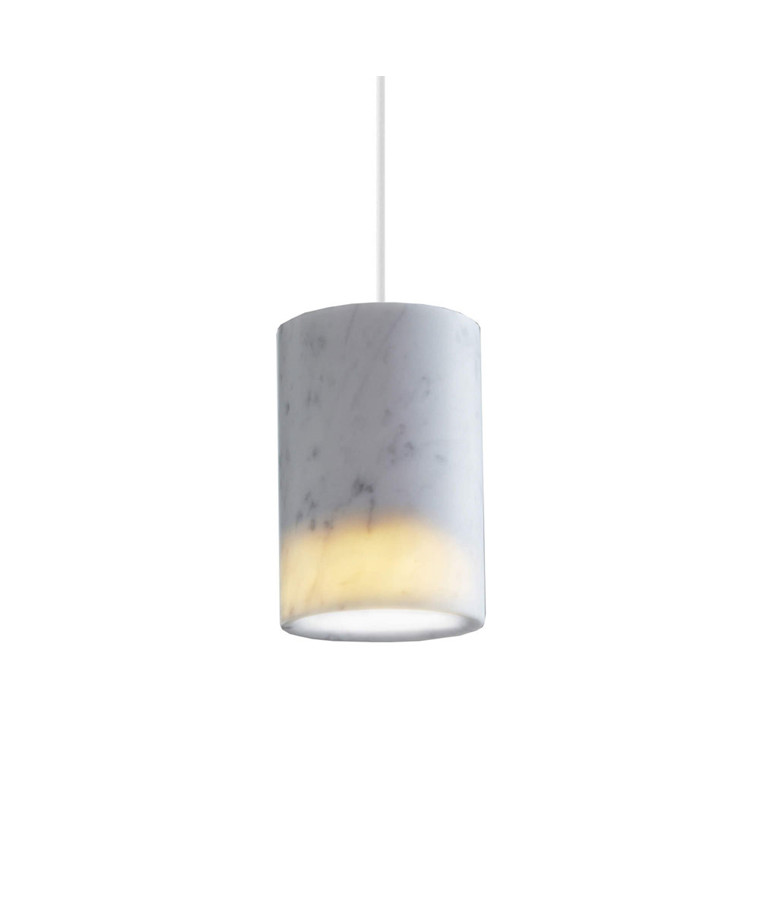 Solid Taklampe Cylinder Carrara Marble - Terence Woodgate