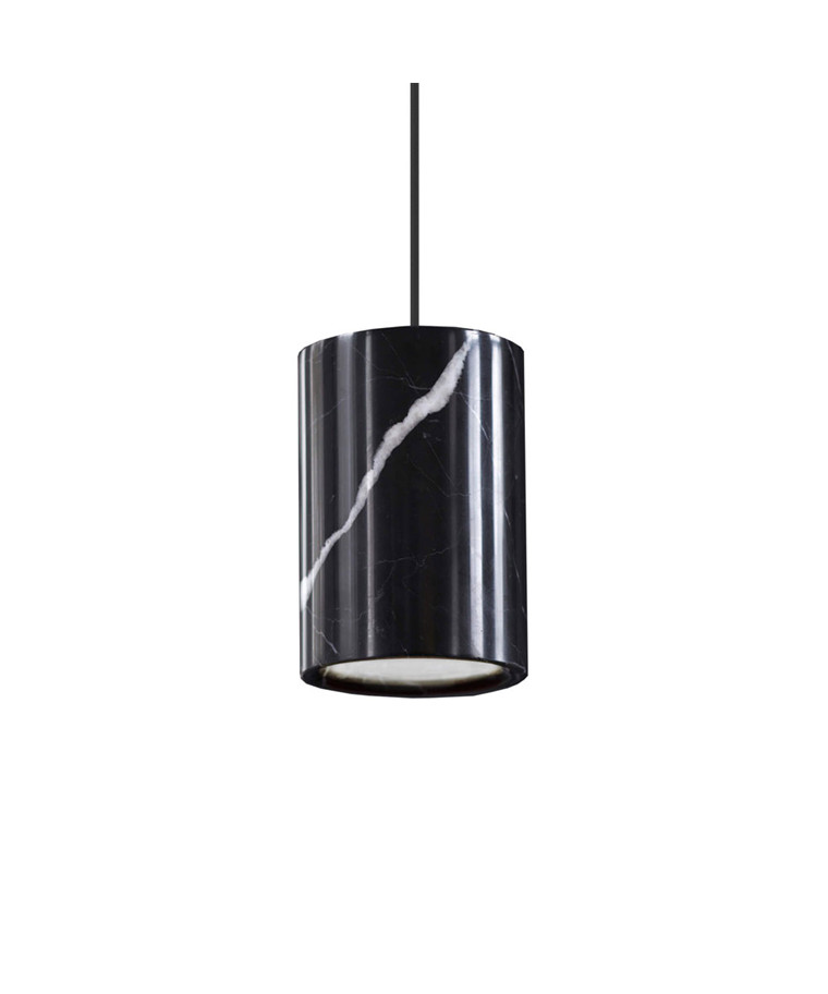 Solid Taklampe Cylinder Nero Marquina Marble - Terence Woodgate
