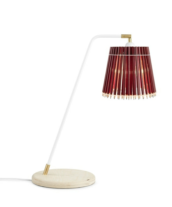Pencil Høj Bordlampe Rød/Hvid - Tom Rossau