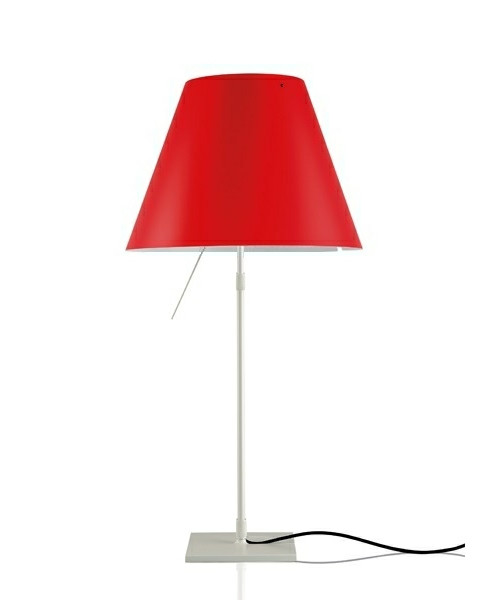 Costanza Bordlampe m/Dimmer Alu/Primary Red - Luceplan