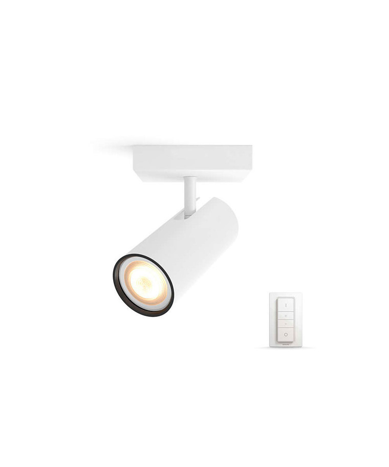 Buratto Loftlampe Single Spot m/Switch Hvid - Philips Hue