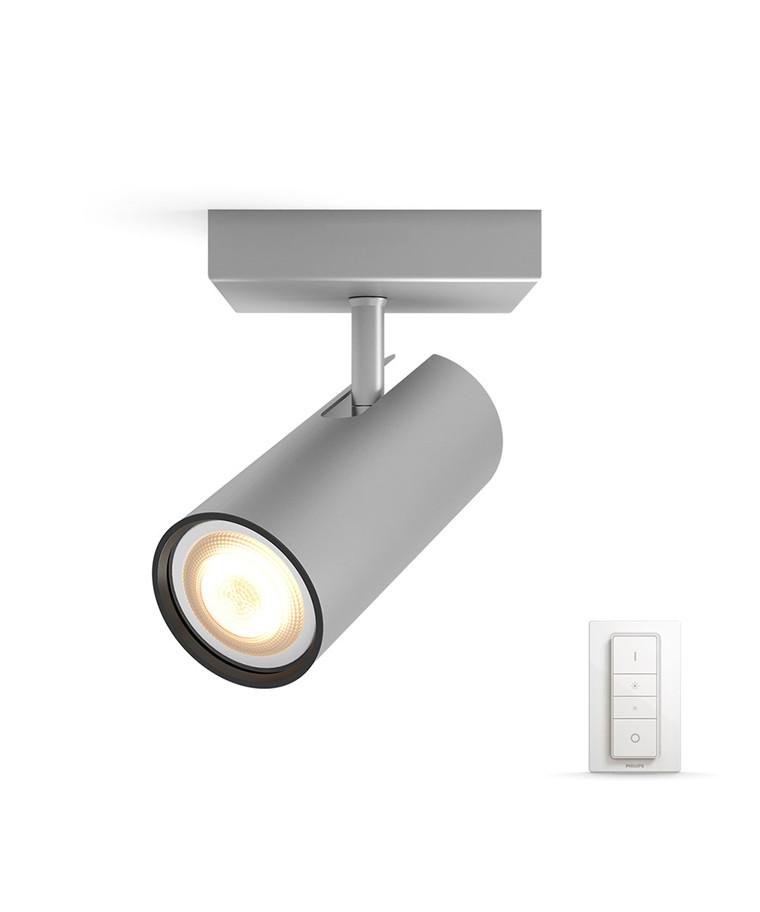 Buratto Loftlampe Single Spot m/Switch Alu - Philips Hue
