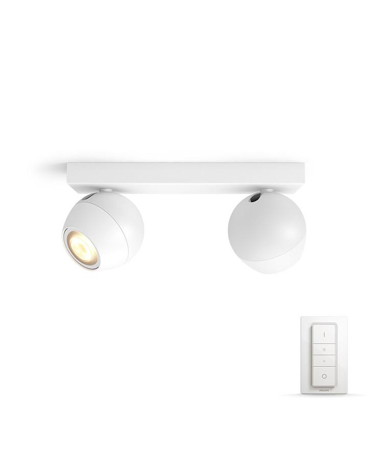 Buckram Loftlampe 2xBar/Tube Hvid - Philips Hue