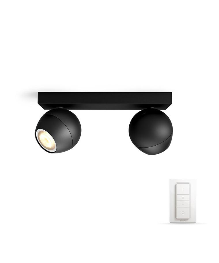 Buckram Loftlampe 2xBar/Tube Sort - Philips Hue