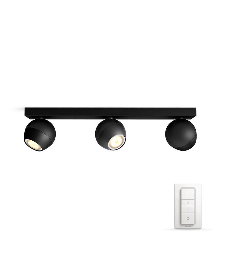 Buckram Loftlampe 3xBar/Tube Sort - Philips Hue