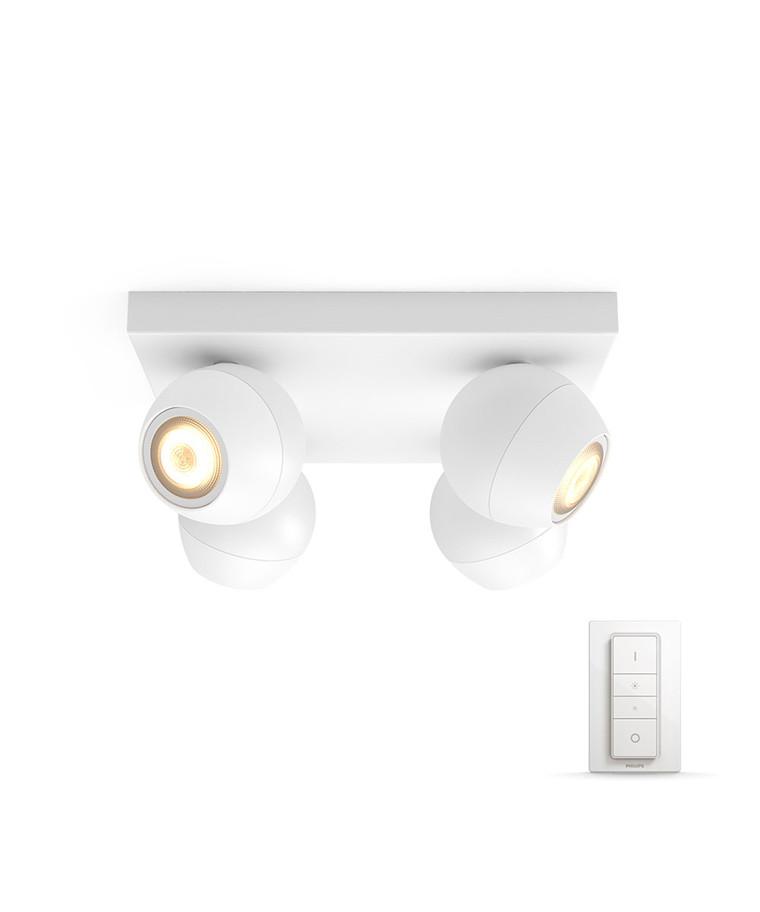 Buckram Loftlampe Plate/Spiral Hvid - Philips Hue