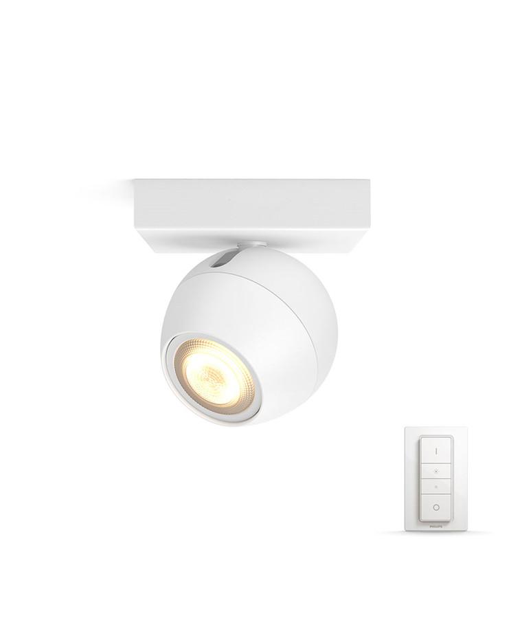 Buckram Loftlampe Single Spot m/Switch Hvid - Philips Hue