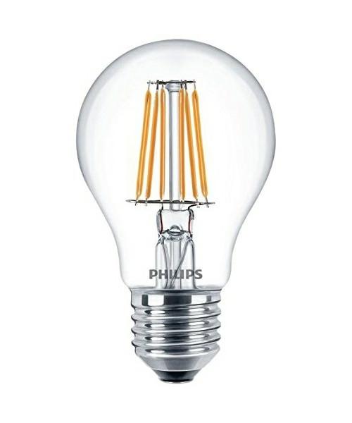 Producent PhilipsKoncept LED deko pære.  Den har 806lm, hvilket svarer til ca. 60-75W. Den har et varmt lys med 2700 kelvin og en RA værdi på 80, hvilket betyder at den gengiver farverne i rummet optimalt.  Hvis du har det lidt svært med det, med pærer, kommer der her en lille kort forklaring om de vigtigste ting, du skal være opmærksom på.  I dag bliver lysstyrken målt på lumen i stedet for watt. Du kan nogenlunde gå ud fra nedenstående.  15W = 140 lumen  25W = 250 lumen  40W = 470 lumen  60W = 800 lumen  75W = 1050 lumen  100W = 1520 lumen Derudover kan man også se på en pære, at der er oplyst en RA eller CRI værdi. Det er lysets evne til at gengive farver og det vurderes på en skala fra 0-100 RA.  100 RA giver den bedste farvegengivelse og det er det, man får fra dagslys.  Til et almindeligt hjem, skal man vælge pærer med en RA værdi på mere end 80.  Der vil også være oplyst en kelvingrad. Dette er lysets farve. En pære med en kelvingrad på 2.700 - 3.000 har et varmt lys.  4.000-4.5