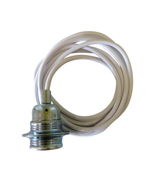 Fatning m/3m ledning hvid/sølv
