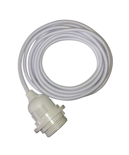 Fatning m/3m ledning hvid/hvid