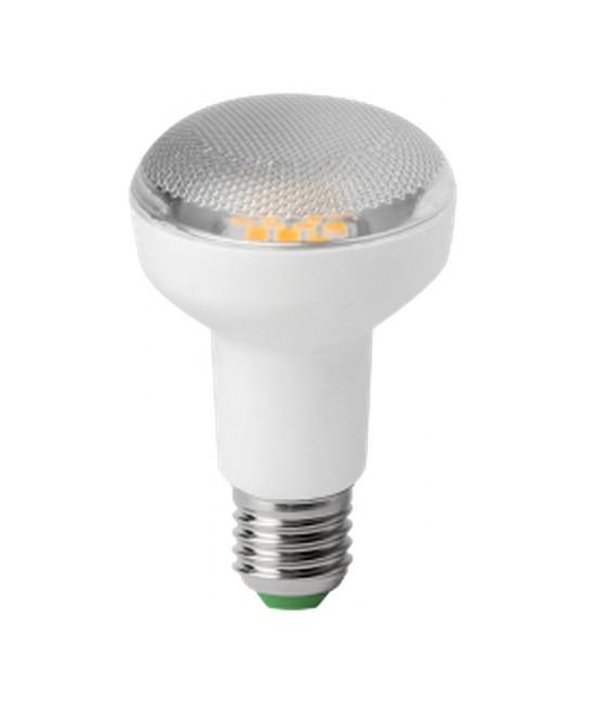 Producent MegamanKoncept LED Reflektor pære.  Den har 680lm, hvilket svarer til ca. 40-60W. Den har et varmt lys med 2800 kelvin og en RA værdi på 80.  Hvis du har det lidt svært med det, med pærer, kommer der her en lille kort forklaring om de vigtigste ting, du skal være opmærksom på.  I dag bliver lysstyrken målt på lumen i stedet for watt. Du kan nogenlunde gå ud fra nedenstående.  15W = 140 lumen  25W = 250 lumen  40W = 470 lumen  60W = 800 lumen  75W = 1050 lumen  100W = 1520 lumen Derudover kan man også se på en pære, at der er oplyst en RA eller CRI værdi. Det er lysets evne til at gengive farver og det vurderes på en skala fra 0-100 RA.  100 RA giver den bedste farvegengivelse og det er det, man får fra dagslys.  Til et almindeligt hjem, skal man vælge pærer med en RA værdi på mere end 80.  Der vil også være oplyst en kelvingrad. Dette er lysets farve. En pære med en kelvingrad på 2.700 - 3.000 har et varmt lys.  4.000-4.5000 giver et neutral til køligt lys og er den mest opti
