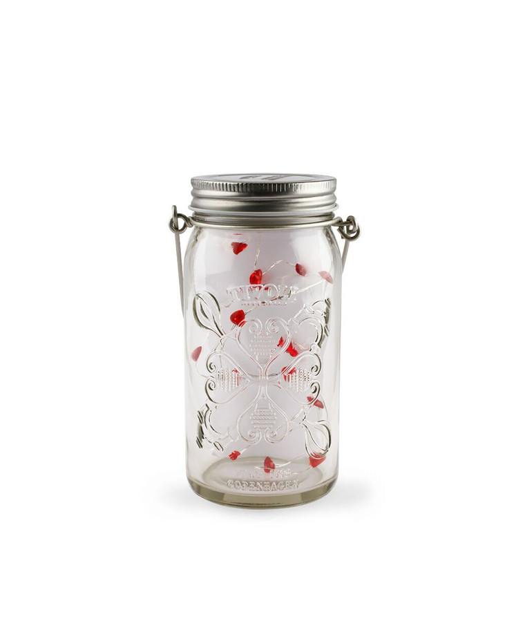 Jar Light Clear Silver/Hearts 815 - TIVOLI LIGHTS