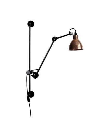 210 Vegglampe Svart/Raw Kobber/Hvit - Lampe Gras