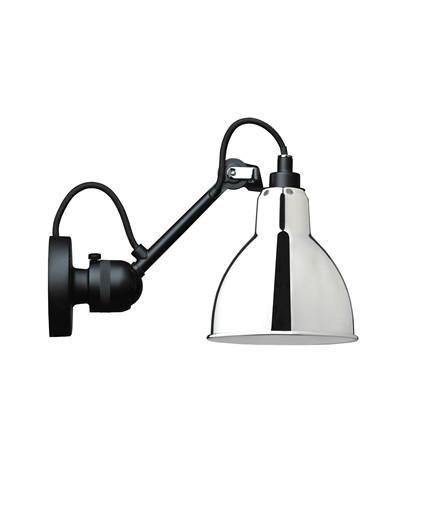 304 Vegglampe Svart/Krom - Lampe Gras