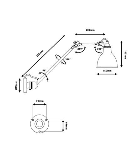 304L40 Vägglampa Svart - Lampe Gras