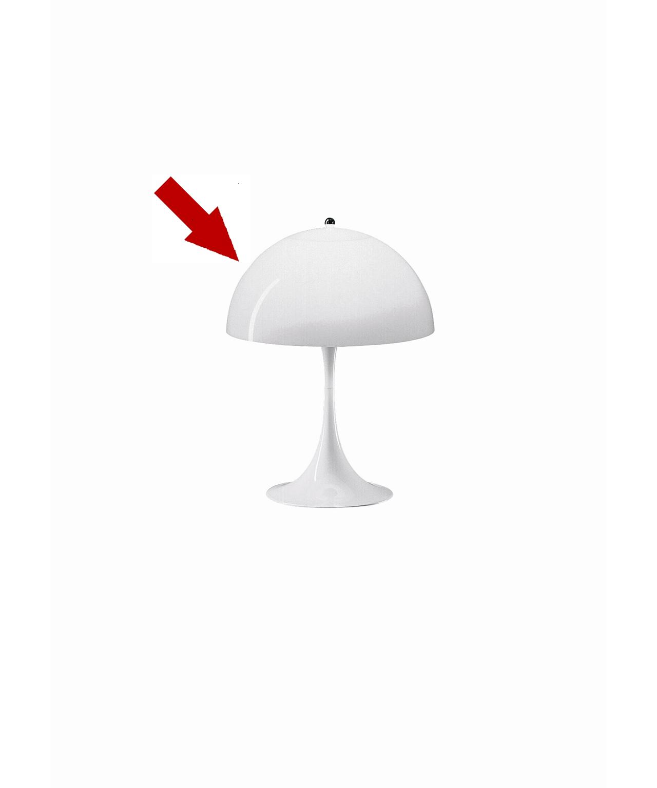 DesignVerner Pantonfor Louis PoulsenKonceptEr kuplen smadret så er det godt at vi har nye skærme på lager.Skærm til den klassiske Panthella bordlampe, designet af Verner Panton.Panthella Bord har en organisk og afbalanceret form. Panthella Bord giver et diffust og behageligt lys.Se de forskellige lamper fra Louis Poulsenher.