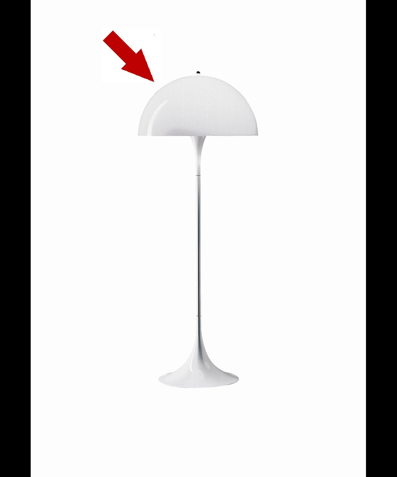 DesignVerner Pantonfor Louis PoulsenKonceptAkryl kan også flække, men vi har heldigvis reservedele på rad og række. Skærm til den klassiske Panthella Gulvlampe, designet af Verner Panton. Panthella Bord har en organisk og afbalanceret form. Panthella Bord giver et diffust og behageligt lys.