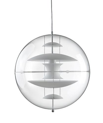 DesignVerner Panton for Verpan Koncept VP Globe 40 Glas er en transparent akryl lampe med fem reflektorer i opalhvid glas hvor den øverste skærm er krom belagt underst. Yderligere er hver lampe et individuelt nummereret og med lampen følger et certifikat med lampens nummer. Dette er for at undgå parallelimport samt at styrke produktets kvalitet.
