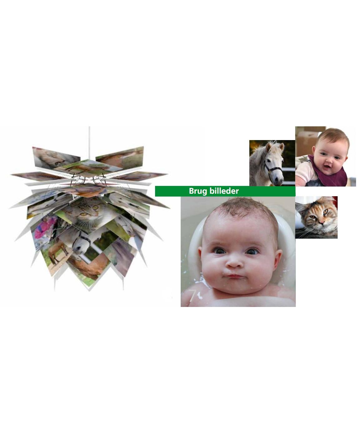 DesignFrank Kerdil for Dyberg Larsen  Koncept Illumin pendel er bedst kan beskrives som børnelampen for livet. En pendel som du og dit barn selv kan ændre på gennem hele opvæksten - fra barn til voksen.  Follow your Age børnelampen kan gøres personlig med alt fra egne tegninger til fotos, print, farvet karton, billeder af hobbies som dyr, biler, tegneserier, fanbilleder osv. Pendelen samles let på 11 min. og kan ændres efter behov, så den altid kan følge med tiden og samtidig giver den glæden ved at skabe noget selv og præge sin indretning. Her kan benyttes billeder, egne print, tegninger, tapet, farvet karton ja kun fantasien sætter grænser.  Ny spændende og fleksibel Pendel der også kan anvendes som gulvlampe eller til bordet. De overlappende skærme er med til at give et diffust og behageligt lys.