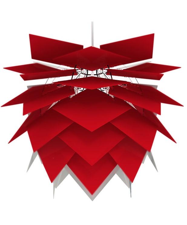 DesignFrank Kerdil for Dyberg Larsen Koncept Illumin pendel Red, eller rød, er lampen for livet. Pendelen samles let på 11 min. og kan ændres efter behov, så den altid kan følge med tiden og samtidig giver den glæden ved at skabe noget selv, og præge sin indretning. Ny spændende og fleksibel Pendel der også kan anvendes som gulvlampe eller til bordet. De overlappende skærme er med til at give et diffust og behageligt lys.