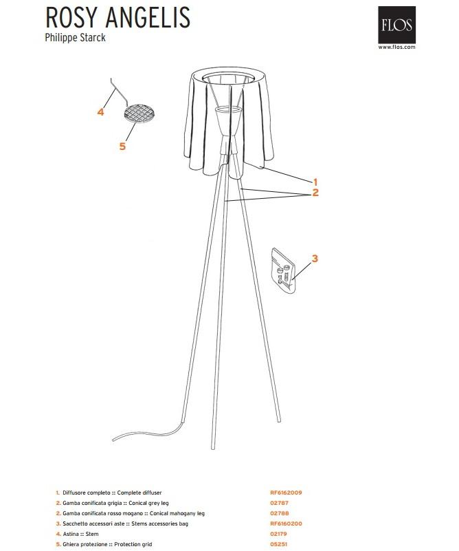 arme topgitter rosy angelis gulvlampe flos. Black Bedroom Furniture Sets. Home Design Ideas