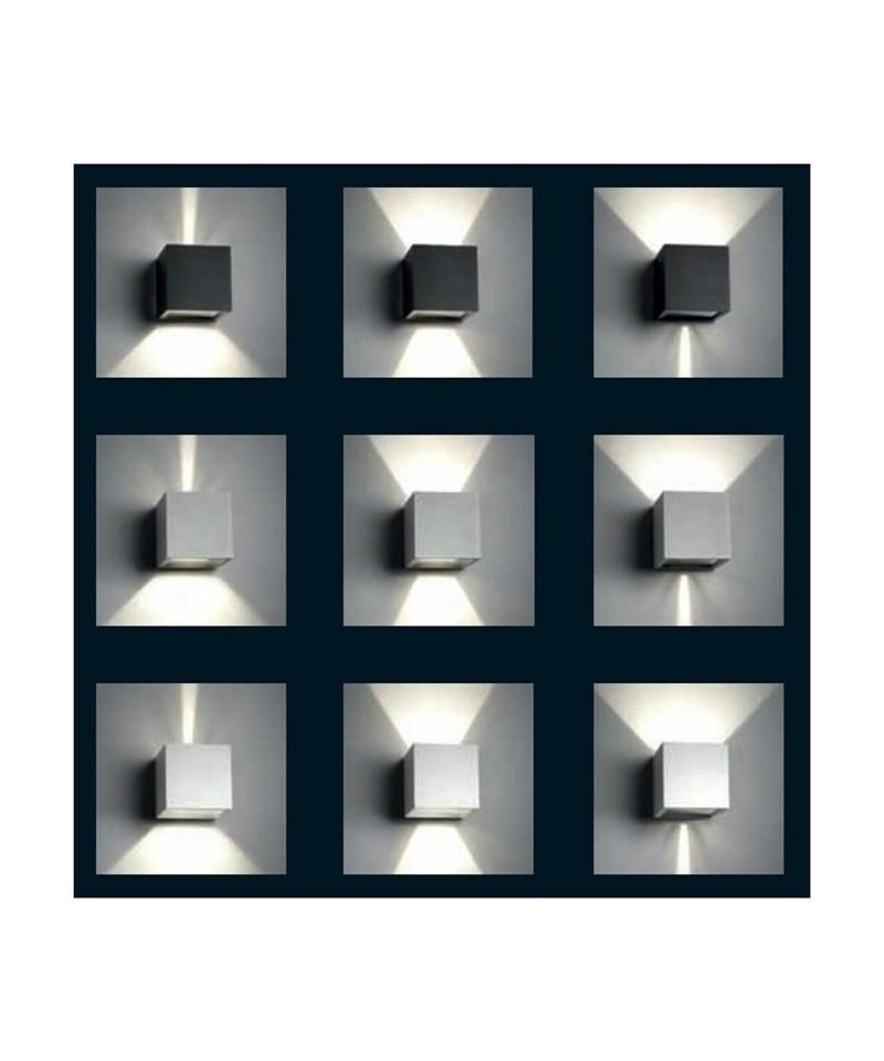 Cube mini led væglampe sølv