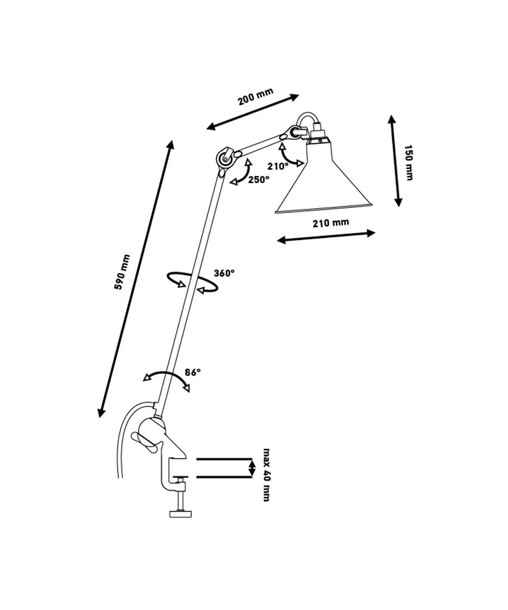 Image of   201 Bordlampe Sort/Krom - Lampe Gras