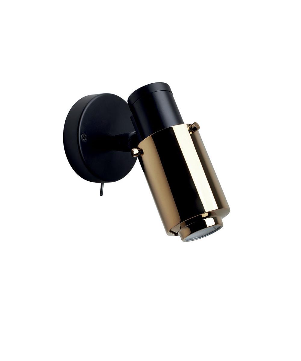 Biny Spot LED m/Afbryder Sort/Guld - DCW thumbnail