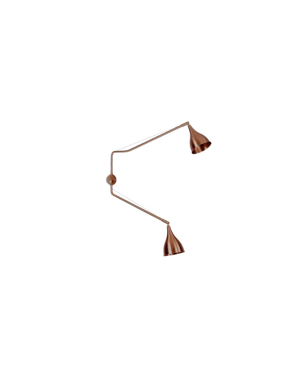 Le six væglampe dobbelt arm bronze
